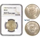 AC737, Palestine, 100 Mils 1940, London, Silver, NGC MS63