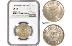 AC737, Palestine, 100 Mils 1940, London, Silver, NGC MS63