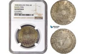 AC738, Peru, South Peru, 4 Reales 1838 AREQ MV, Silver, NGC AU Details