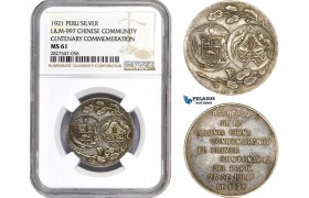 AC739, Peru & China, Silver Medal 1921, Chinese Centenary Commemeration, L&M-997, NGC MS61
