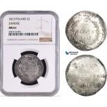 AC740, Poland, Zamosc, 2 Zlote 1813, Silver, NGC MS61, Rare!