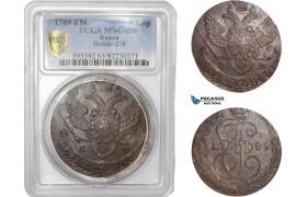 AC742, Russia, Catherine II, 5 Kopeks 1789 EM, Ekaterinburg, PCGS MS63BN
