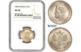 AC745, Russia, Nicholas II, 25 Kopeks 1896, St. Petersburg, Silver, NGC AU58