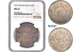 AC746, Saudi Arabia, Hejaz, Al-Husain ibn Ali, 20 Piastres AH1334/8, Mecca, Silver, NGC MS62