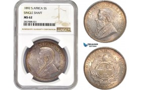 "AC748, South Africa (ZAR) 5 Shillings 1892 ""Single Shaft"" Berlin, Silver, NGC MS62"