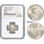AC749, Spain, Isabella II, 4 Reales 1842 B CC, Barcelona, Silver, NGC MS64, Pop 1/0