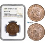 AC750, Spain, Alfonso XII, 10 Centimos 1878 OM, Barcelona, NGC MS62RB