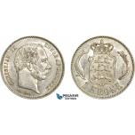 AC756, Denmark, Christian IX, 1 Krone 1898, Copenhagen, Silver, Cleaned AU
