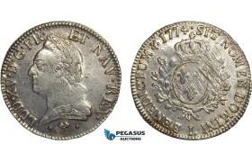 AC757, France, Louis XV, Ecu 1774-L, Bayonne, Silver (29.35g) Polished XF-AU