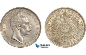 AC760, Germany, Prussia, Wilhelm II, 2 Mark 1892-A, Berlin, Silver, aUNC, Key Date! Rare!