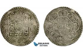 AC763, Nepal, Surendra Vikrama. 2 Mohars SE1801 (1879) Silver, XF