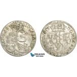 AC769, Poland, Johann Casimir, 6 Groschen (Szostak) 1657/6 I-T, Cracow, Silver, aXF
