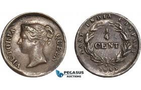 AC783, Straits Settlements, Victoria, 1/4 Cent 1845, XF-AU