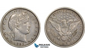 AC789, United States, Barber Quarter (25C) 1893-S, San Francisco, Silver, XF
