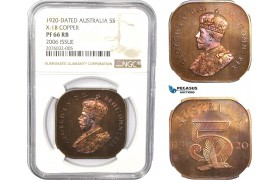 AC790, Australia, George V, 5 Shillings 1920 Dated, 2006 Issue, NGC PF66RB