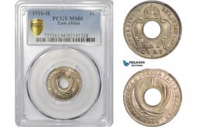 AC792, British East Africa, George V, 1 Cent 1916-H, Heaton, PCGS MS66