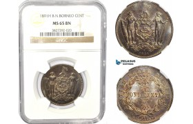 AC794, British North Borneo, 1 Cent 1891-H, Heaton, NGC MS65BN
