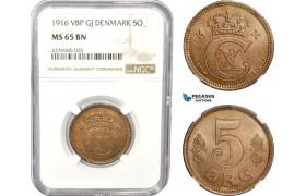 AC804, Denmark, Christian X, 5 Øre 1916, Copenhagen, NGC MS65BN