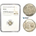 AC805, Ottoman Empire, Egypt, Abdul Aziz, 10 Para AH1277/8, Misr, Silver, NGC MS66