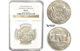 AC806, Estonia, 2 Krooni 1930, Silver, NGC MS65