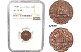 AC811, German East Africa (DOA) 1/2 Heller 1904-A, Berlin, NGC MS64RB