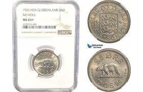 "AC813, Greenland, 25 Øre 1926 ""No Hole"" Copenhagen, NGC MS65+"