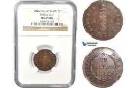 AC814, Haiti, 1 Centime An 43 / 1846, Small Cap, NGC MS65BN, Pop 1/0