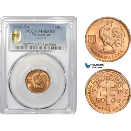 AC815, Madagascar, 50 Centimes 1943-SA, PCGS MS65RD