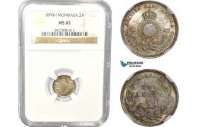 AC816, Mombasa, 2 Annas 1890-H, Heaton, Silver, NGC MS65