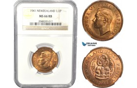AC817, New Zealand, George V, 1/2 Penny 1941, NGC MS66RB, Pop 1/0