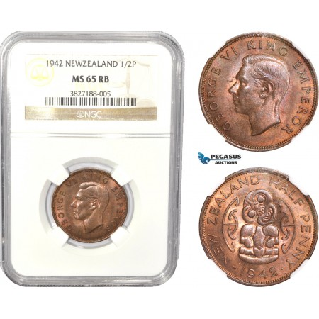 AC818, New Zealand, George V, 1/2 Penny 1942, NGC MS65RB, Pop 4/0