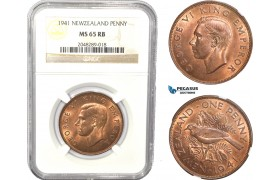 AC819, New Zealand, George V, 1 Penny 1941, NGC MS65RB, Pop 7/0