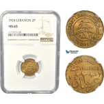 AC820, Lebanon, 2 Piastres 1924, Paris, NGC MS65, Pop 4/1