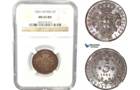 AC822, Portugal, Azores, Louis I, 5 Reis 1865, Lisbon, NGC MS65BN, Pop 1/0