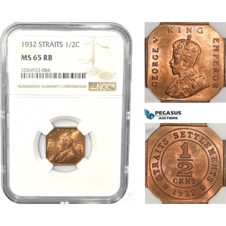 AC827, Straits Settlements, George V, 1/2 Cent 1932, NGC MS65RB