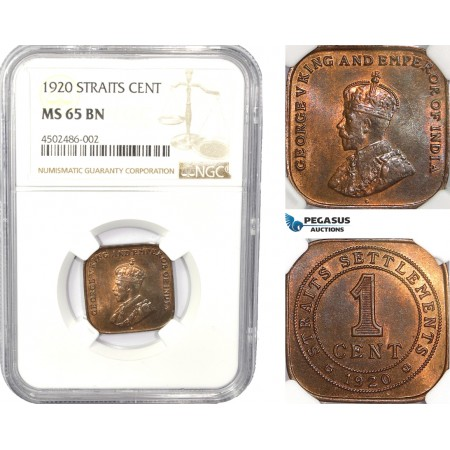 AC829, Straits Settlements, George V, 1 Cent 1920, NGC MS65BN