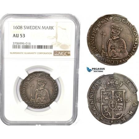 AC830, Sweden, Karl IX, 1 Mark 1608, Stockholm, Silver, NGC AU53