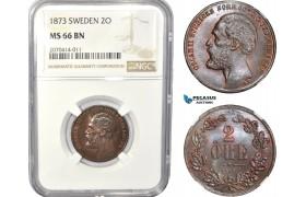 AC831, Sweden, Oscar II, 2 Öre 1873, Stockholm, NGC MS66BN, Pop 2/0