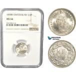 AC832, Switzerland, 1/2 Franc 1898-B, Bern, Silver, NGC MS66, Pop 5/0