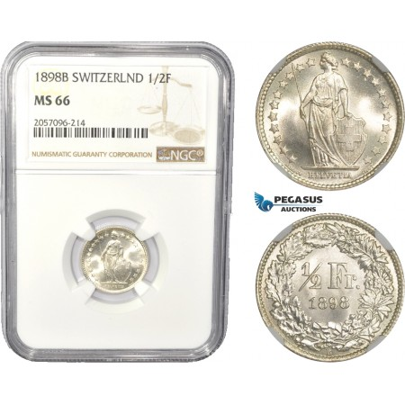 AC832, Switzerland, 1/2 Franc 1898-B, Bern, Silver, NGC MS66, Pop 5/0