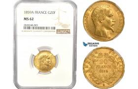 AC833, France, Napoleon III, 20 Francs 1859-A, Paris, Gold, NGC MS62