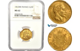 AC835, France, Napoleon III, 20 Francs 1863-BB, Strasbourg, Gold, NGC MS62