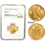 AC836, France, Napoleon III, 20 Francs 1869-A, Paris, Gold, NGC MS63