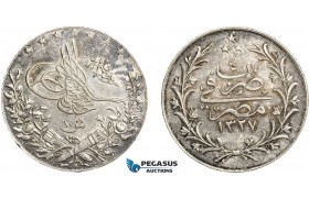 AC838, Ottoman Empire, Egypt, Mehmed Reshad V, 10 Piastres AH1327/4-H, Heaton, Silver, Toned AU-UNC (Light cleaning)