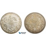 AC839, Ottoman Empire, Egypt, Mehmed Reshad V, 20 Piastres AH1327/6-H, Heaton, Silver, Toned AU (Light cleaning)