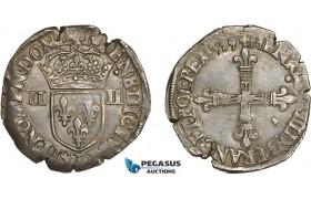 AC840, France, Henri III, 1/4 Ecu 1589-T, Nantes, Silver (9.65g) Ci. 1516, Toned AU