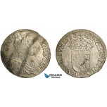AC844, France, Louis XIV, 1/2 Ecu 1650-Q, Narbonne, Silver (13.54g) Ga. 169, Stained AU
