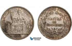 AC845, French Indo-China, Piastre 1902-A, Paris, Cleaned AU