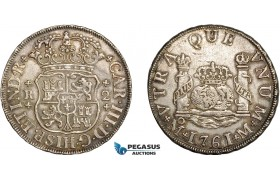 "AC850, Mexico, Charles III, ""Pillar"" 2 Reales 1761 Mo M, Mexico City, Silver, XF-AU"
