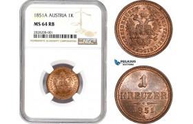 AC856, Austria, Franz Joseph, 1 Kreuzer 1851-A, Vienna, NGC MS64RB